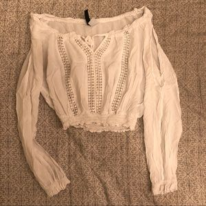 H&M White Crop Peasant Top